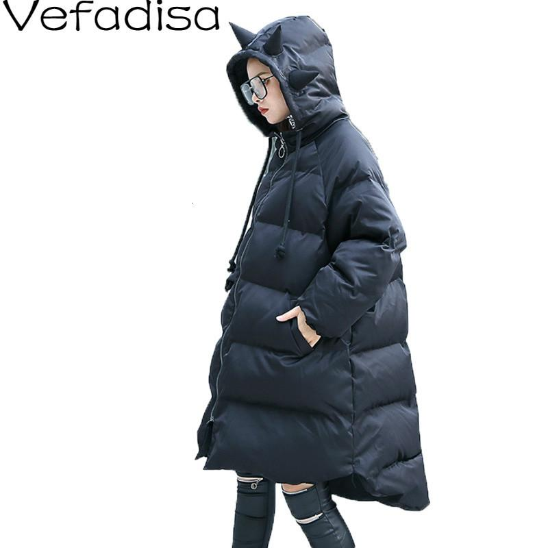 Vefadisa Winter Cotton-padded Clothes Woman 2019 Solid Black Green Irregular Thick Hooded Parka Female Loose QYF984