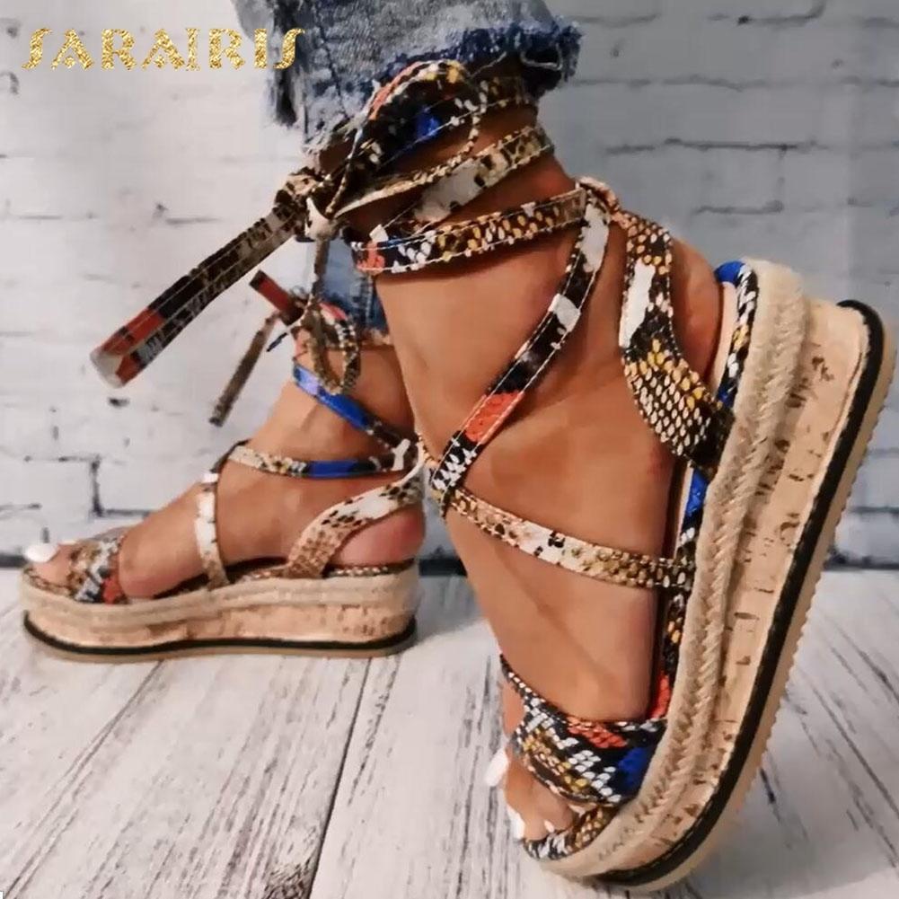 Sarairis клинья каблуков Мода 2020 Большой размер 43 Оптовая Шнурки змейки Printed лето INS Горячие ботинки женщин сандалии T200519