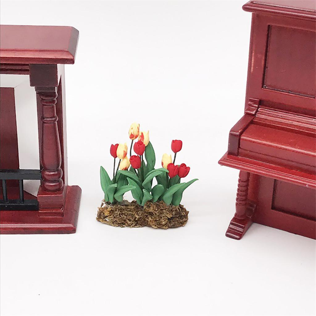 Fake Mini Dollhouse Miniature Green Plant Flower in Pot Fairy Garden Accessory 1:12 Doll House Essential for All little girls