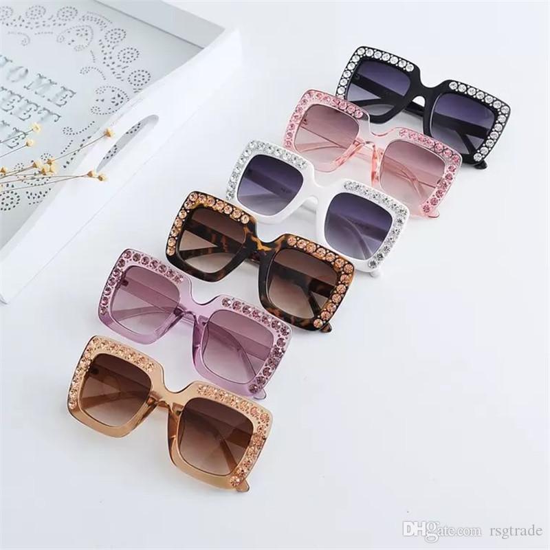 Fashion Baby boomer Diamond Rivet Sunglasses Square Frame Eyeglasses Boys And Girls Sports Rhinestone Edge Colors Mix Ultraviolet Protection