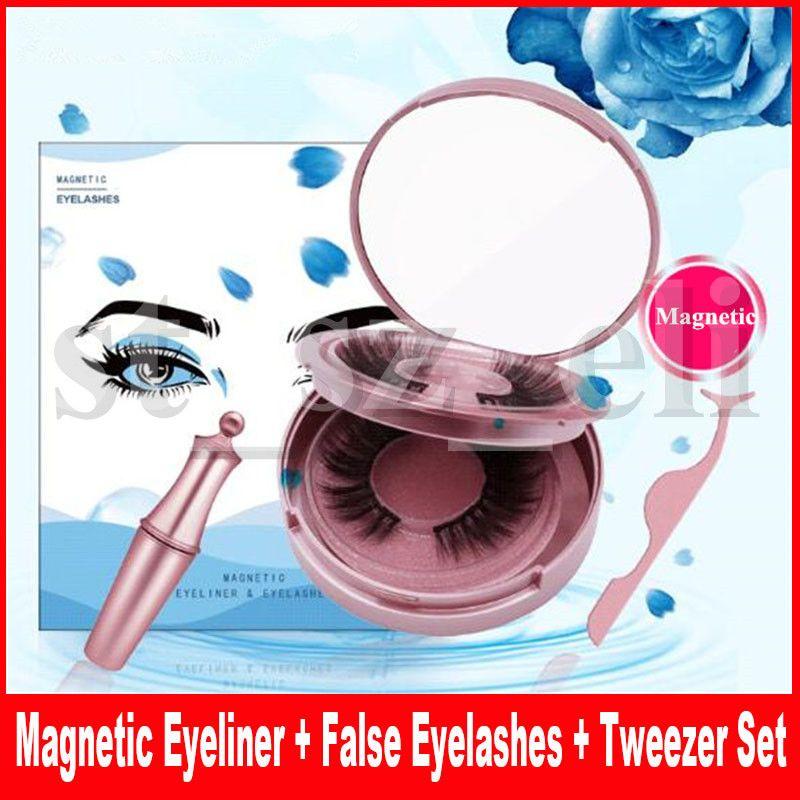 4 in 1 Magnetic liquid Eyeliner with 2 Pair Faux Mink Magnetic False Eyelashes Waterproof Long Lasting Eyeliner Lashes Tweezer