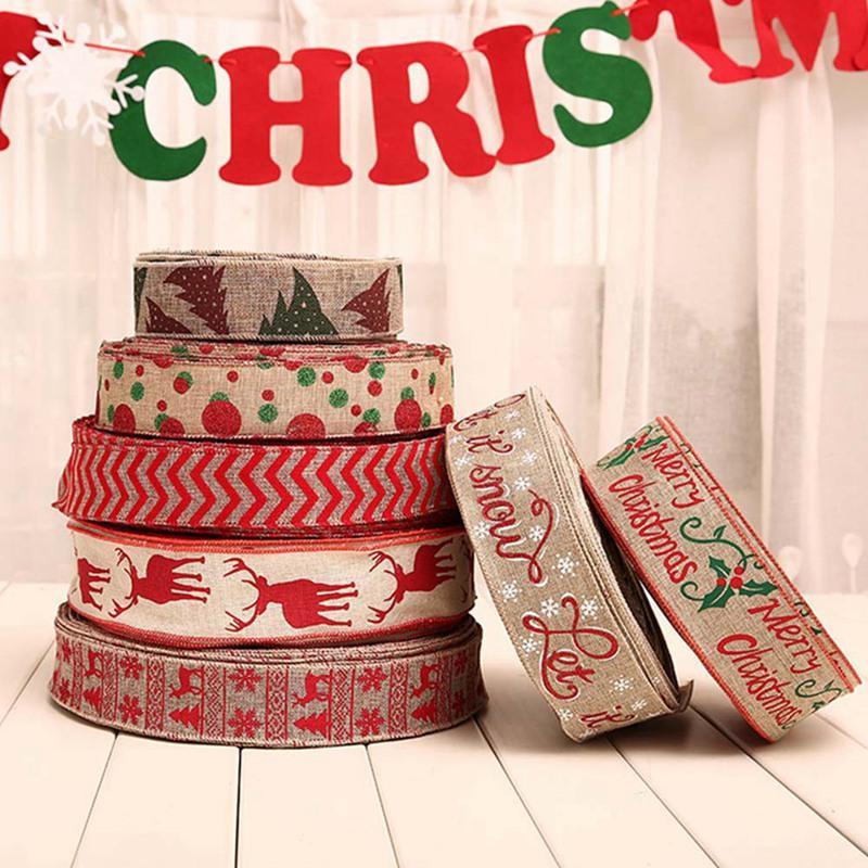 1pc di Natale della tela da Fiocco Stampa ornamenti dell'albero di Natale Decorazione prua decorazioni di festa