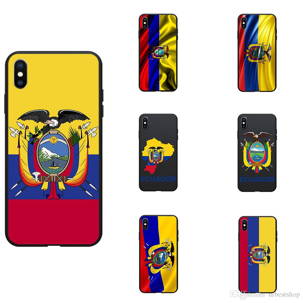 Ecuador National Flag Coat Of Arms Theme Soft TPU Phone Cases Cover Image Logo For iPhone 6 7 8 11 pro max S XR X Plus 11 Pro Max