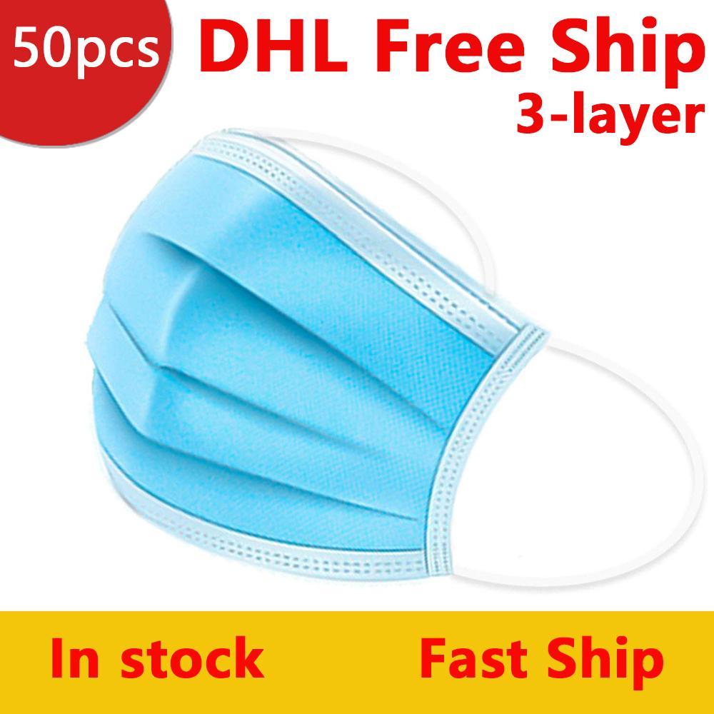 DHL Livraison gratuite à usage unique Masque 3-couche 50pcs Masques Protection du visage et masque personnels sur la santé avec le visage Masques Earloop Bouche sanitaire