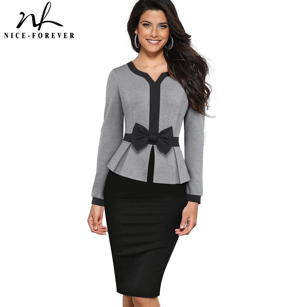Elegante contrasto vestidos Nizza-forever inverno Colore Patchwork Ufficio prua con abito manica lunga Affari aderente donne B554 Y200418