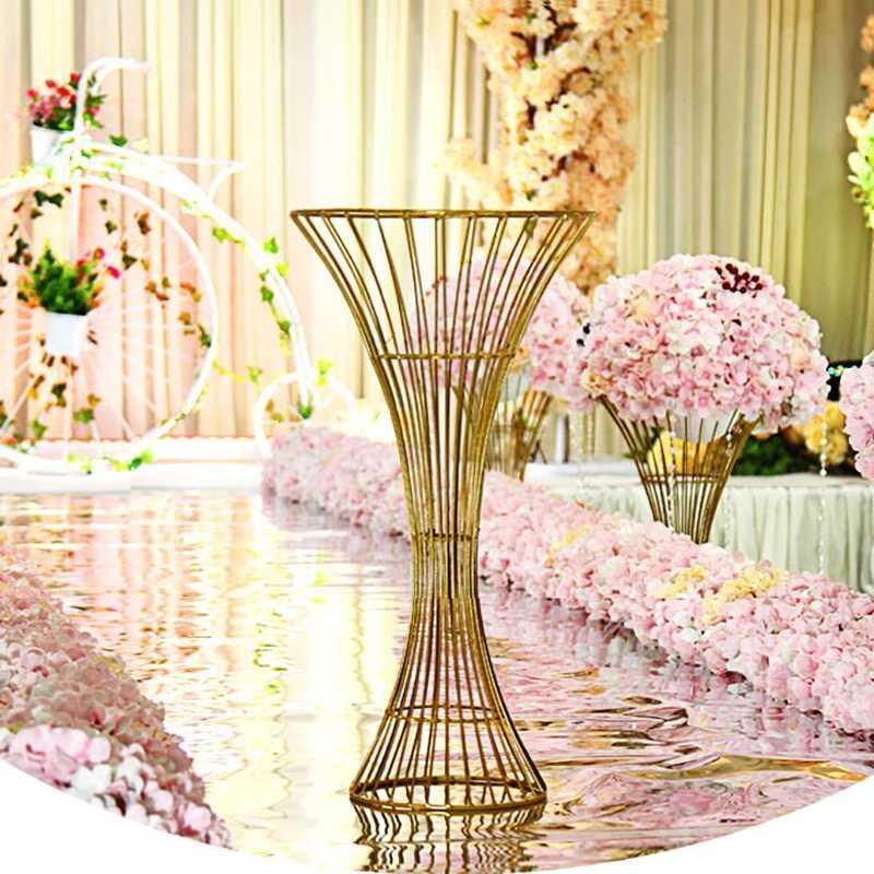 Demir çiçek standı vazo düğün sahne yapay çiçek masa centerpieces yol kılavuzu top vazo düğün dekorasyon dövme