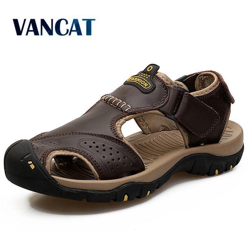 Zapatos de verano 2019 Vancat cuero auténtico al aire libre de los hombres de los hombres de las sandalias para Hombre Calzado casual que camina del agua de la playa Sandalias sandalia T200420