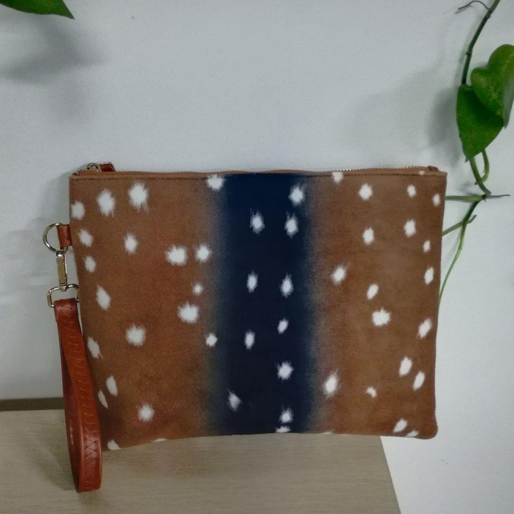 Flannel Deer Cosemtic Bag Wholesale Blanks Deer Wristlet Clutch Brown Dot Pouch Gift DOM684