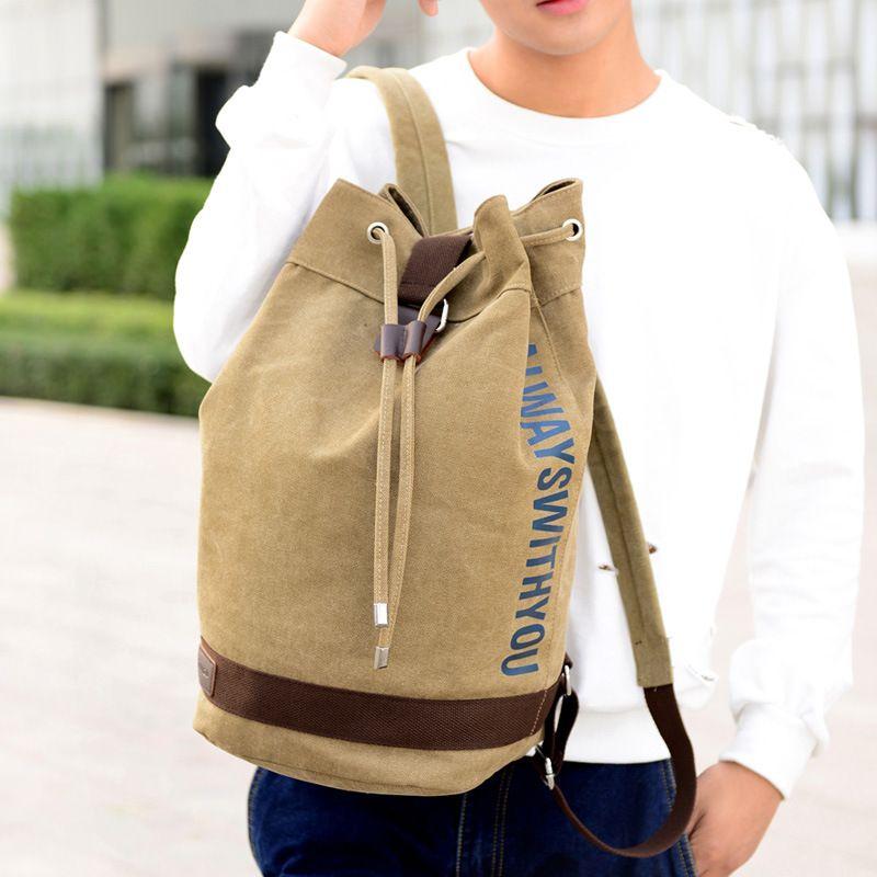 Grande Capacidade Canvas Montanhismo Man Backpack Masculino Balde de viagem Bolsa de Ombro Tactical Canvas Militar Mochilas nova