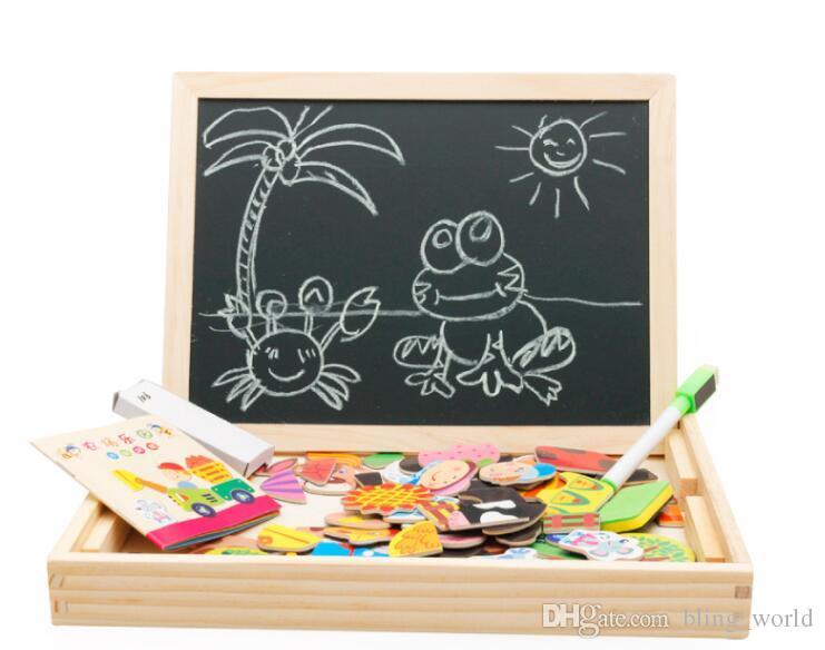 Puzzle magnetico Consiglio dei bambini dei bambini Farm Animal Jigsaw Jungle legno scrittura Giocattoli educativi Disegno Cavalletto Boards LXL630