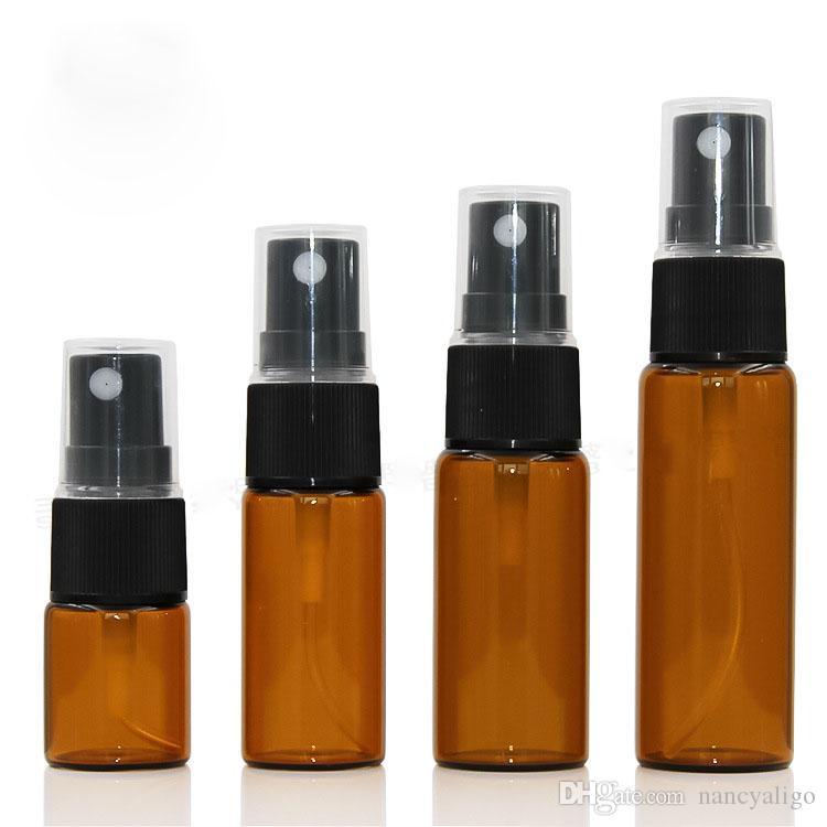 Venta caliente EE.UU. CA Brown botella de cristal del aerosol 5ML 10ML 15ML 20ML con spray tapa de la bomba, Amber Maquillaje botellas de perfume libre-envío de DHL