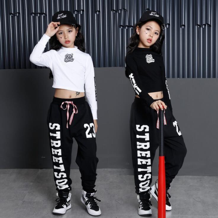 Kız Erkek Gevşek Caz Hip Hop Dans Yarışması Kostüm Hoodie Gömlek Pantolon Gençler Çocuk Tasarımcı Breakdancing Performans Giyim Wear Tops