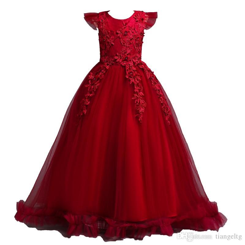 Filles couleur unie col rond manches volant robe de broderie Princesse filles mariage robe en dentelle mignonne