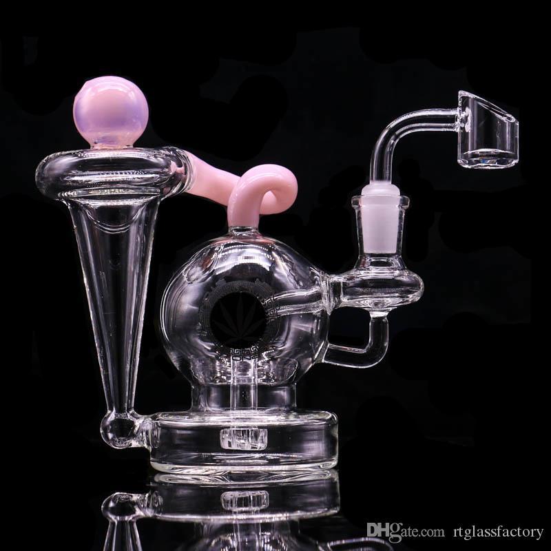 Narguilé rose verre bong dabber plate recycleur tuyaux eau bangs tuyau de fumée 14.4mm joint femelle avec quartz banger