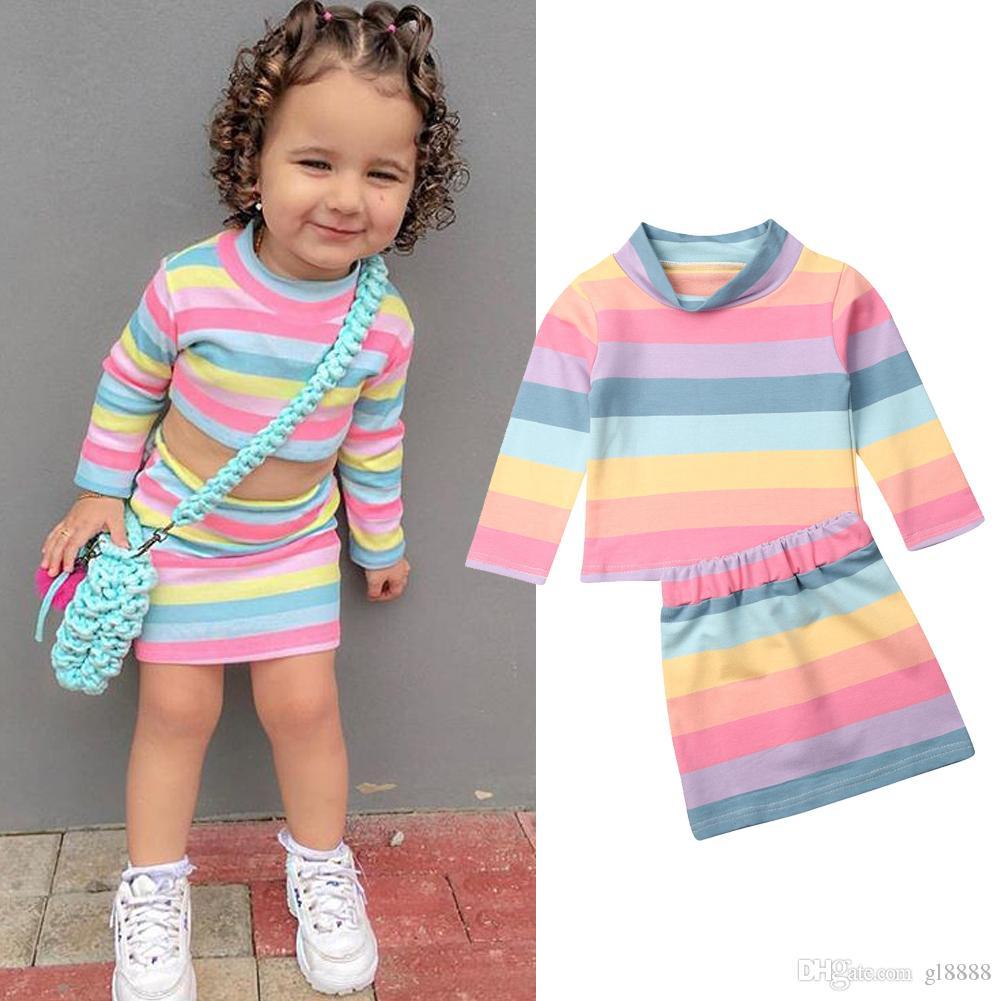 2PCS / 세트 유아 어린이 아기 소녀 컬러 스트라이프 의류 세트 긴 소매 가을 T 셔츠 탑 + 미니 스커트 의상 키즈 소녀 용 의류