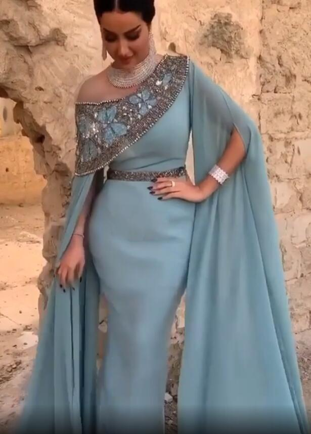 Lussuoso Arabo Aso EBI Sexy Sirex Sirena Abiti da sera 2020 cristalli in rilievo Abiti da ballo in chiffon Partito formale Seconda reception abiti