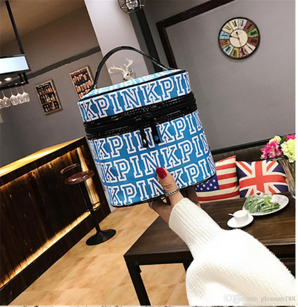 사랑 핑크 화장품 메이크업 가방 기차 케이스 클래식 휴대용 더블 지퍼 메이크업 저장 워시 가방 케이스 여성을위한 다기능 파우치