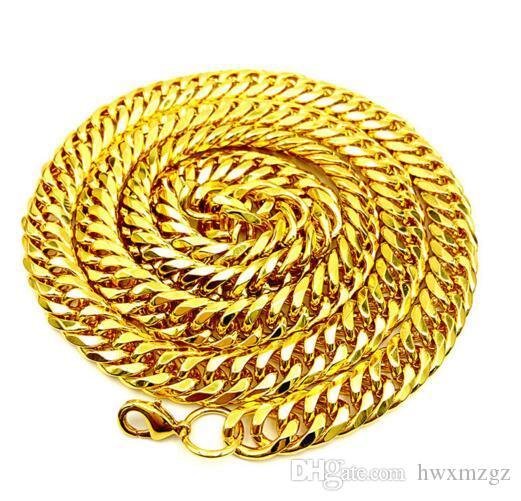 Collar chapado en oro de hip hop para hombre Cadena cubana de grano denso en forma de diamante de 10 mm Cadena cubana 18k