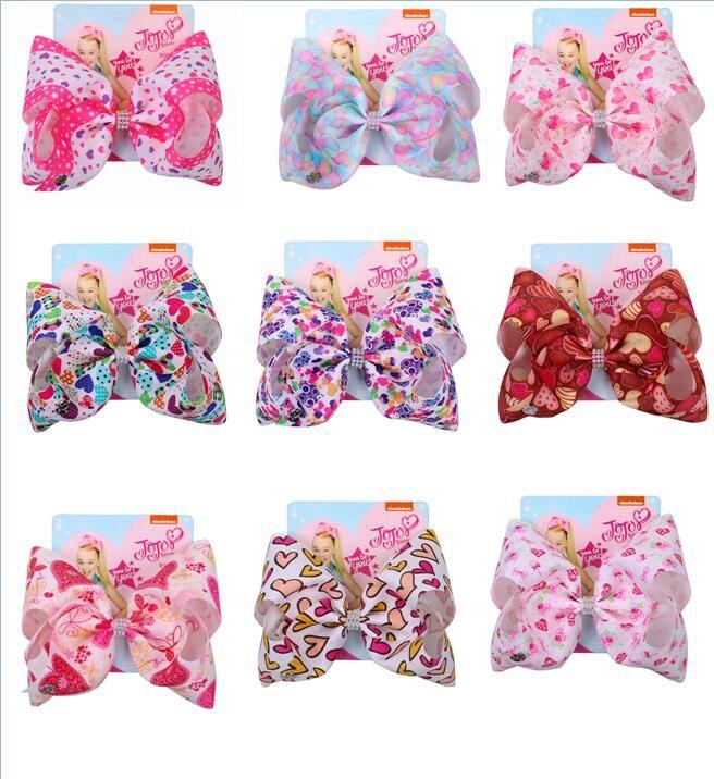 "Hot sale 8"" Large Jojo Bows for Girls Jojo Siwa Hair Bows for Girls with Clips Bowknot Handmade Girl Hair Clips Hairgrips 10 pcs"