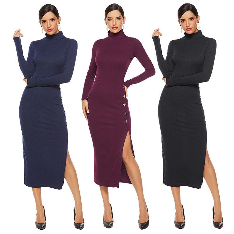 2019 côté couleur femmes automne hiver solide fente sexy chandail jupe manches longues extensible robe en tricot Slim