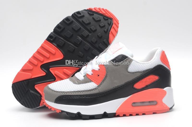 Nike air max 90 Niños 2018 90 air Zapatillas para correr Childrens 90 air zoom Zapatos deportivos 10 colores niños niñas tamaño euro 24-35