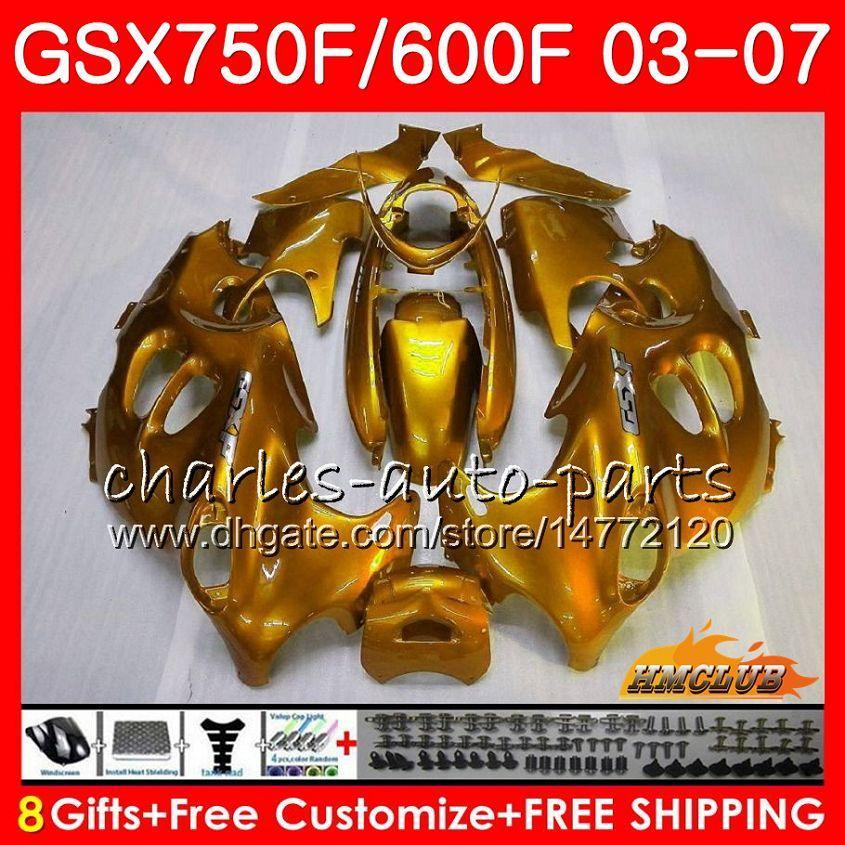 Kit de corps pour Suzuki Katana GSXF600 Gloss Golden GSXF750 03 04 05 06 07 3HC.57 GSX750F GSX600F GSXF 750 600 2003 2004 2005 2006 2007 2007