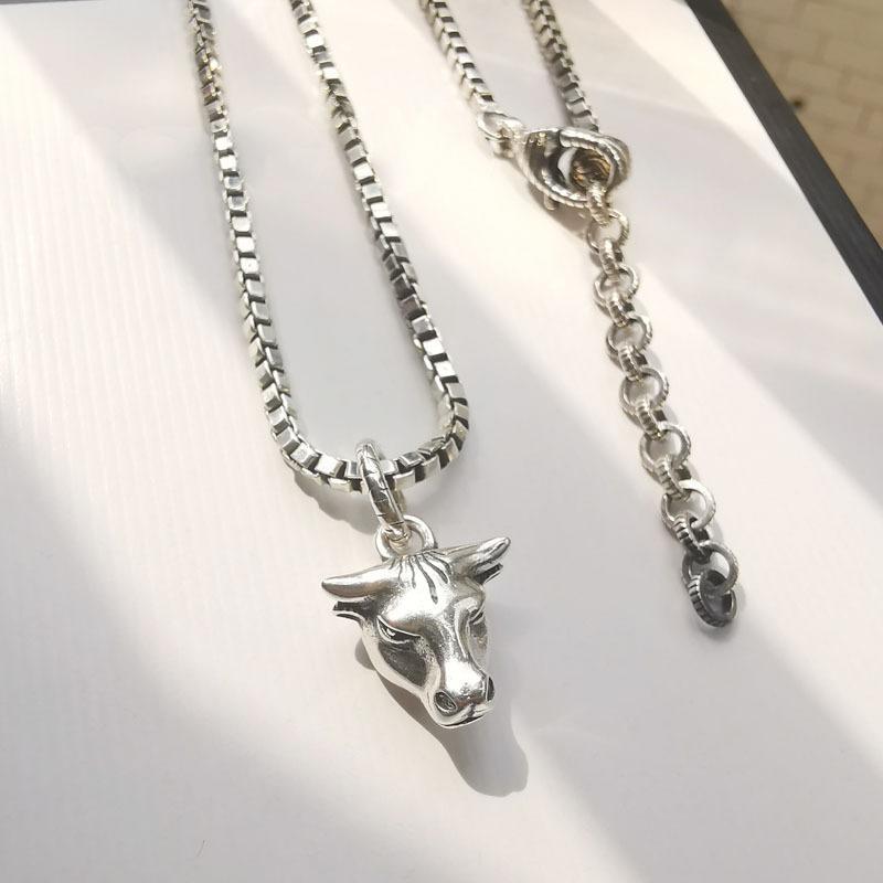 Gujia 925 argent sterling pendentif tête de vache fait vieux collier couple Wang Yibo version haute