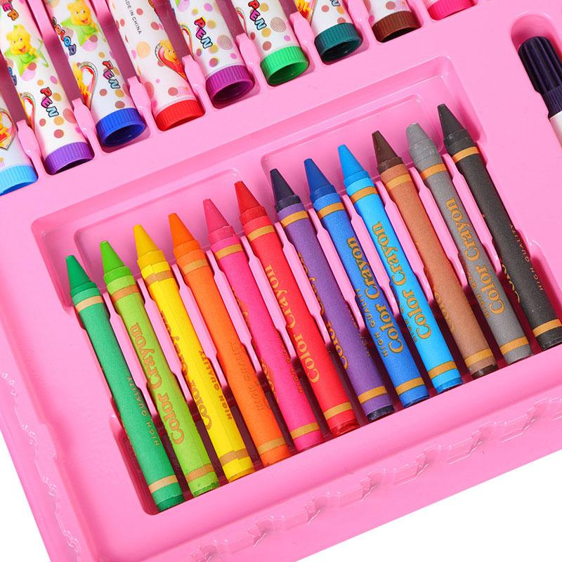 Free shipping Watercolor pen 86-Color large capacity boxed Children's stationery set Painting brushes Crayon Oil pastel Wholesale PEN0302