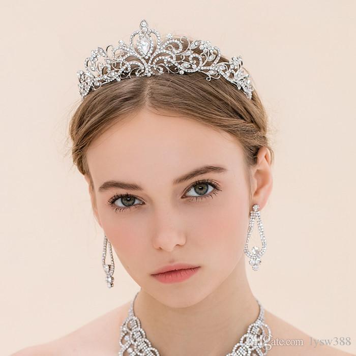 20pcs / lot DIY Sliver Extravagant Geburtstag Crown Drill Stirnband Fotografie-Perlen-Braut-Legierung Haar Styling Werkzeuge Zubehör HA889