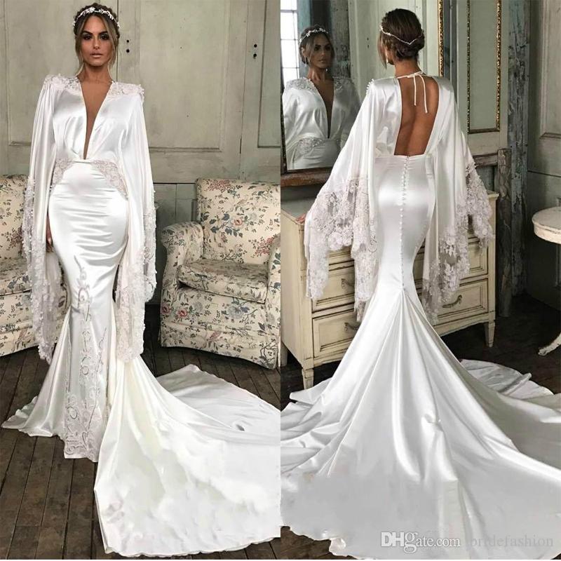 Designer White Mermaid Saudi Arabia Evening Dresses Poet Long Sleeve Backless Celebrity Dress 2019 Sweep Train Satin Red Carpet Prom Gowns