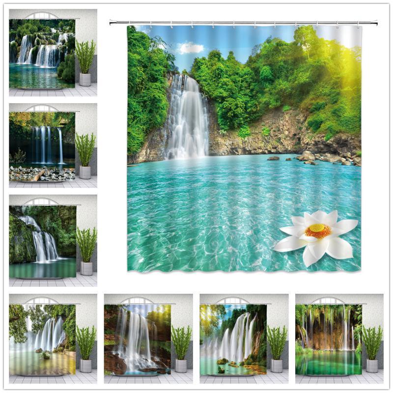 Waterfall Shower Curtains Summer Forest Green Plants Natural Landscape Bathroom Decor Waterproof Cloth Curtain Set Cheap