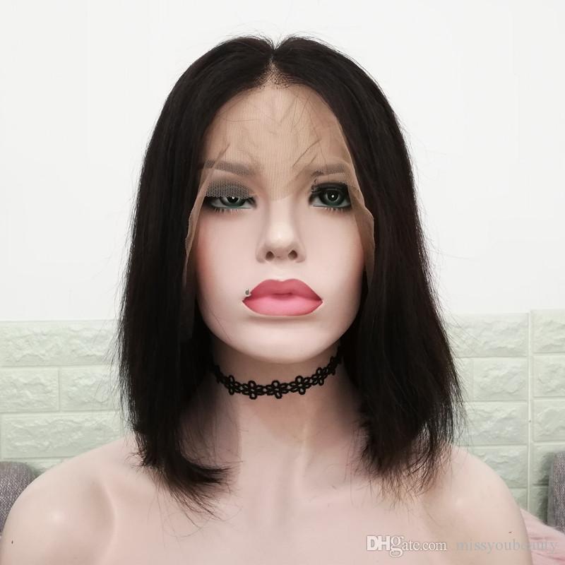 Moyen partie de dentelle perruque Bob perruque profonde partie 13x6 dentelle perruque Frontal Silky droite cheveux épais