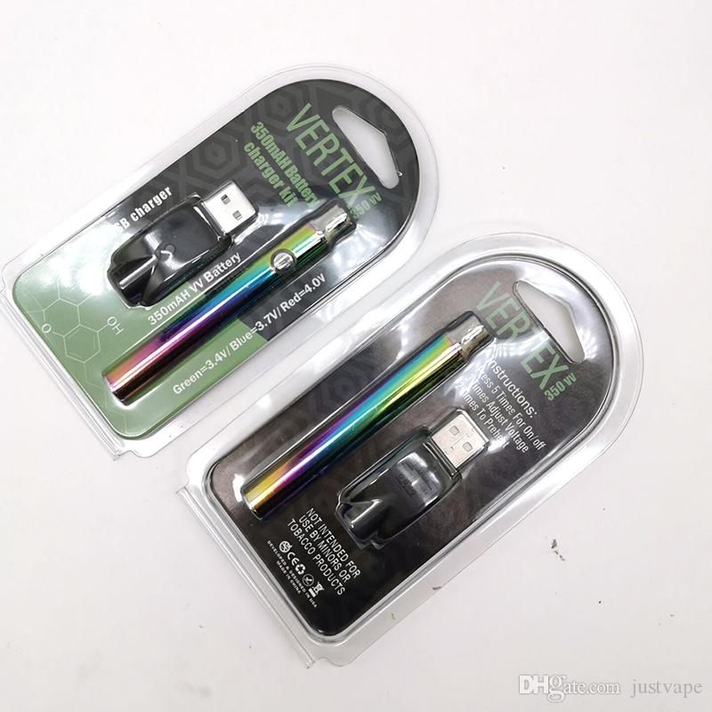 LO Vertex Preheating Vape Battery vv 350mah Rainbow Color 510 Thread Battery For E Cigarette 510 Thread Factory Price