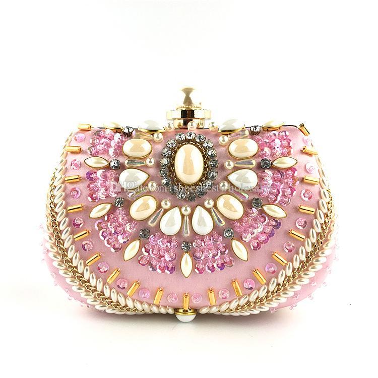 Cute Fashion Lady Mondain Totes Sac Pearl Luxury Sling Sac cristal fille sac à bandoulière style rétro femmes robe shopping sac à main