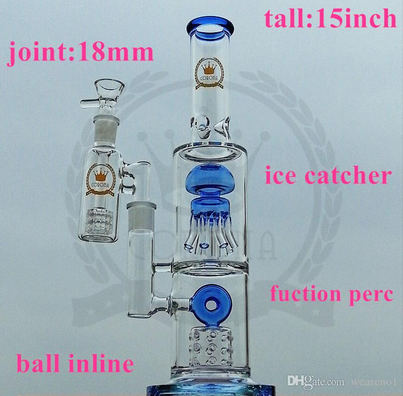 New Beaker Bongs Glass Bong 15 Armario Hitman Rosa Reciclador Bongs Púrpura Verde Azul Negro Vidrio Tubería