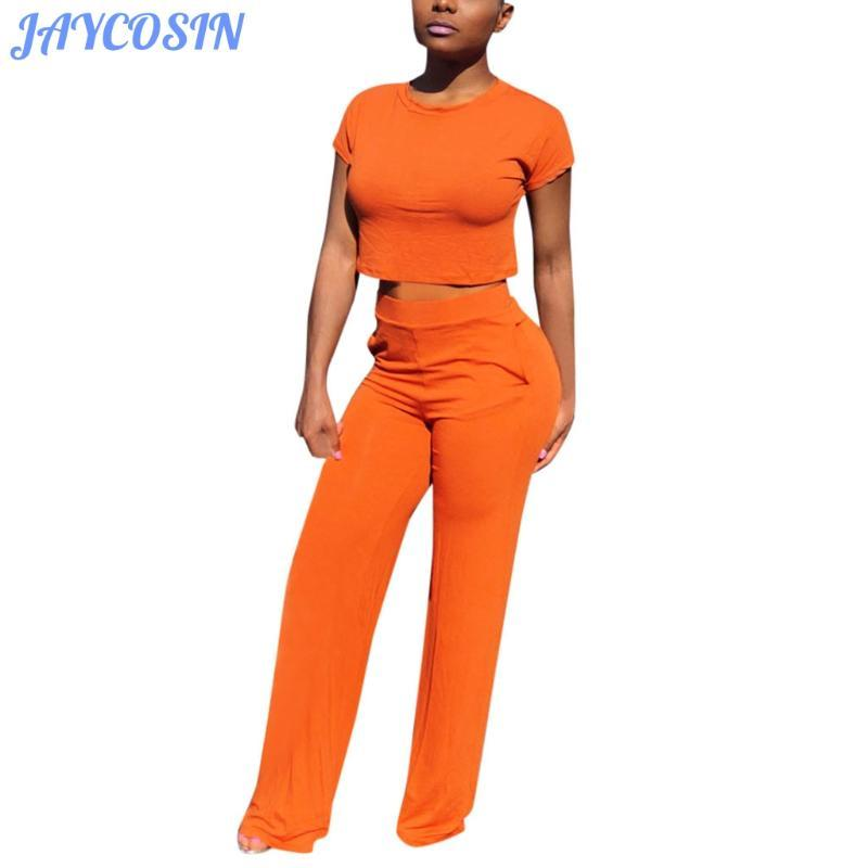 JAYCOSIN Women Sets Clothes Sexy Solid Color Two Piece Set Short Sleeve Tight Top And Long Pants Summer Casual Suit Clothes
