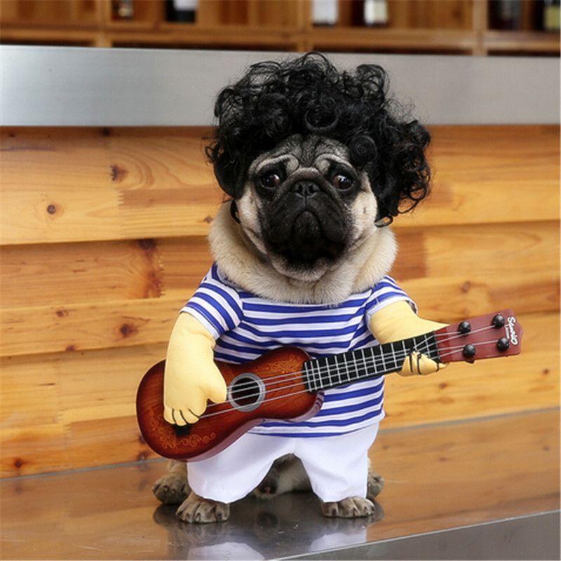 Drôle Guitar Player Cosplay Dog Costume Pour petit chien Grand Pet Chat drôle Golden Retriever Halloween Party Vêtements Custome