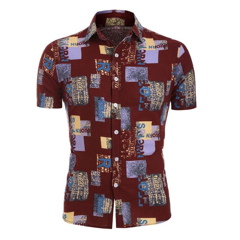 Повседневный короткий рукав рубашки мужчин Harajuku гавайские рубашки Printed сплайсинга для мужчин Мода нагрудные Harajuku рубашка сорочка потте