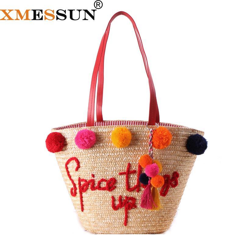 XMESSUN 2018 Palla colorata grande spiaggia sacchetti sacchetto paglia Handmade delle donne Pom Pom borse estate Travel Bag C97