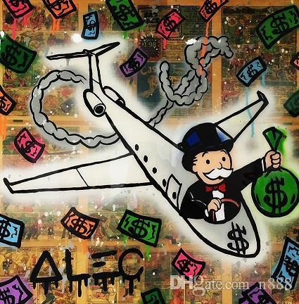 Alec Tekel El Boyalı Yağlıboya Resim Sokak Sanatı Pop Graffiti sanatı Uçak Ana Deco Wall Art On Tuval Çoklu Boyutları 200315 G204