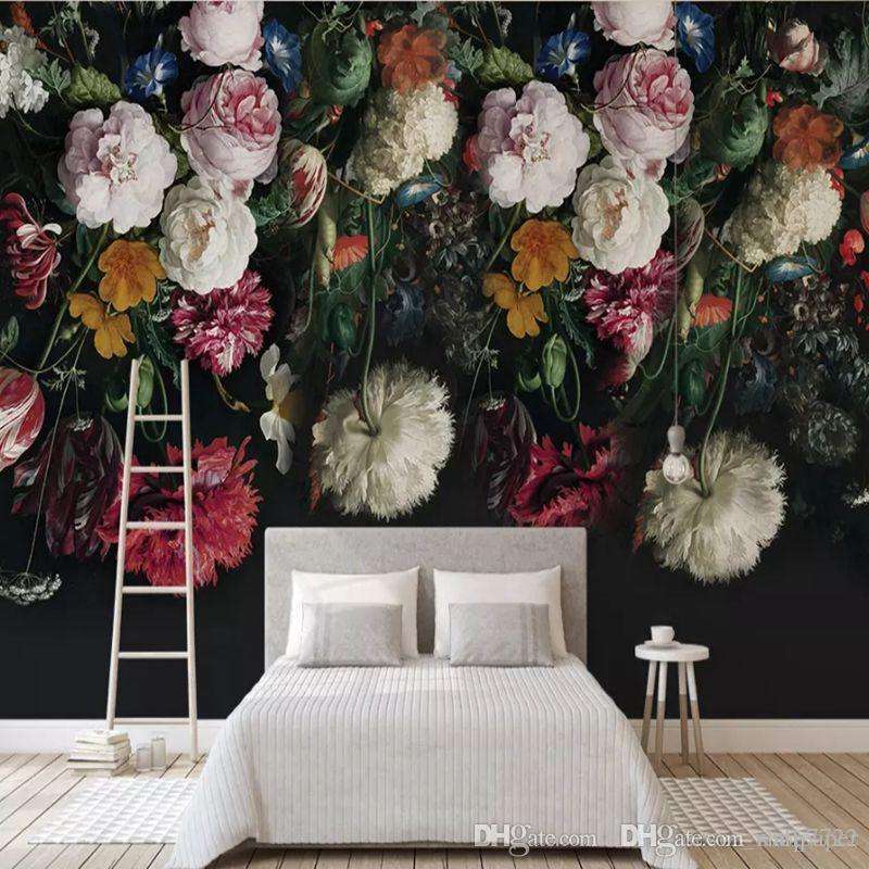 현대 3D 사용자 정의 사진 벽화 벽지 화려한 핑크 레드 화이트 꽃 꽃 홈 장식 TV 소파 배경 거실