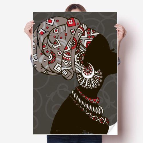 Afrika Siyah Kadınlar Aborjin Headdress Sticker Poster Çıkartması 31x22