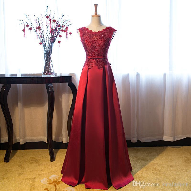 Satin Lange Abendkleider mit Perlen Applikationen 2019 U-Ausschnitt Abendkleider Lace Up Partykleid Rot Burgund