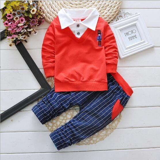 2020 новая осенняя детская одежда Детский костюм с длинным рукавом воротник рубашки мальчика комплект из двух частей детская одежда спорт цельный волос