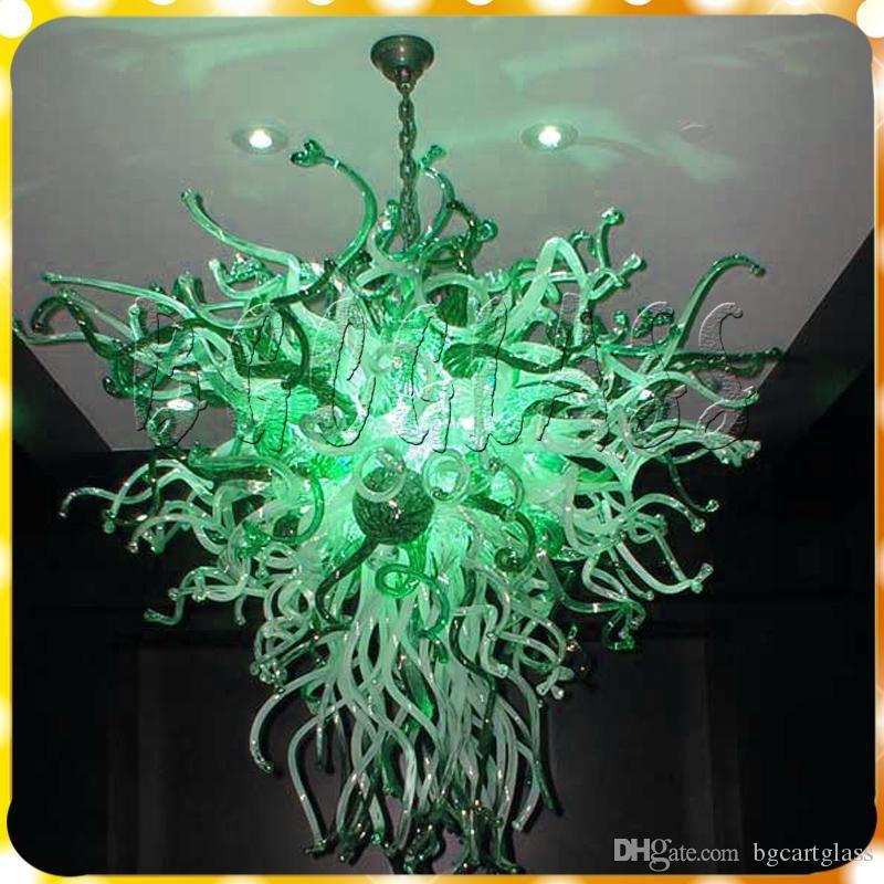 Grün-Dekor-Aqua-Blau-Kunst-Glas-Lampen LED-Lichtquelle 100% Hand aus mundgeblasenem Glas Kette Leuchter-Leuchte