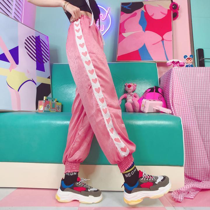 Evidenziare estate delle donne Big Pocket raso harem pants signore lettera lucido nastro pantaloni Harajuku Pantaloni pantaloni allentati femminili