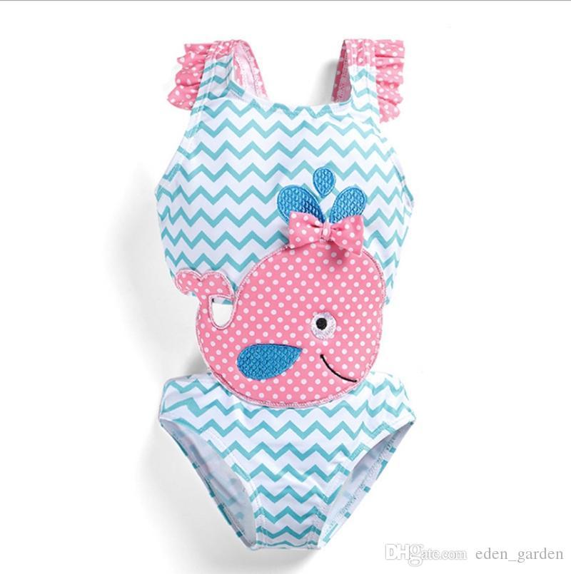Baby Girls Swimwear Swan Girl Bathing Suit One Pieces Dots Dolphin Kids Swimsuit Children Swim Wear Summer Kids Clothing 2 Design WZW-YW2849