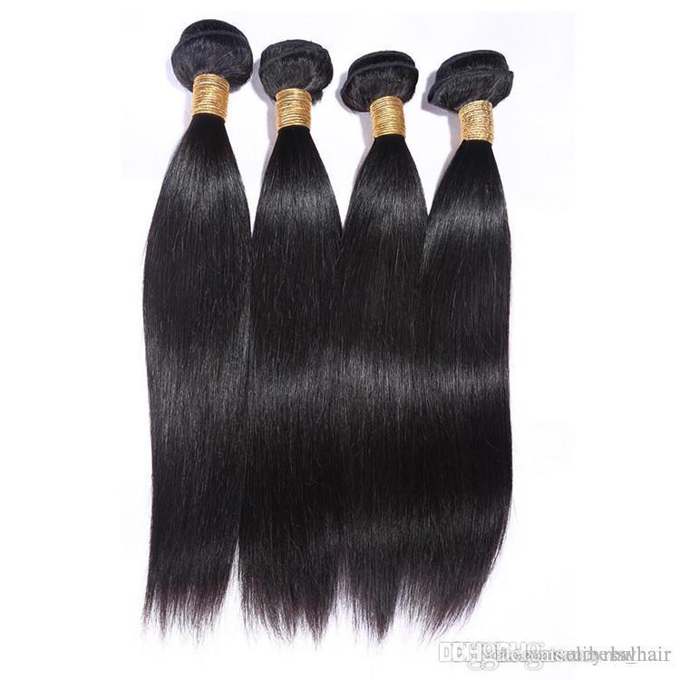 Elibess Brand-100% Шелк Человеческий прямой волны Пучки Человеческих Волос Двойной Уток Необработанные Девственные Волосы, 3 шт. Лот