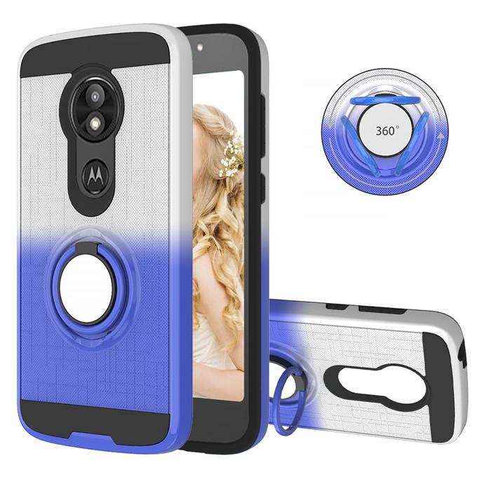 الألوان المتدرجة TPU + PC 2 في 1 القضية مرة أخرى للحصول على هاتف موتو E5 G7PLAY السلطة G7 2019 360 درجة حلقة الدورية