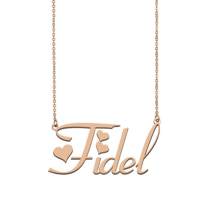 Fidel Nome, collana nome personalizzato per le donne ragazze Best Friends Compleanno Matrimonio Madre Days regalo di Natale